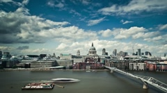 Millennium Bridge and St.Paul's Cathedral timelapse - stock footage