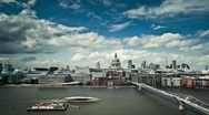 Stock Video Footage of Millennium Bridge and St.Paul's Cathedral timelapse