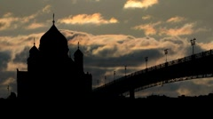 Moscow cathedral of Christ the Saviour and Moscow river 09 Stock Footage