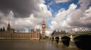 Stock Video Footage of Big Ben with sunny puffy clouds timelapse