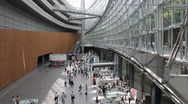 Stock Video Footage of Tokyo International Forum Building interior time lapse