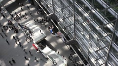 Interior of Tokyo International Forum Building overhead time lapse - stock footage