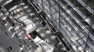 Interior of Tokyo International Forum Building overhead time lapse Stock Footage