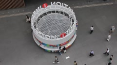 Tokyo International Forum Building--Information booth timelapse (zoom) - stock footage