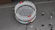Tokyo International Forum Building--Information booth timelapse (zoom) Stock Footage