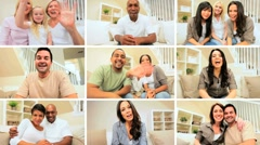 Montage of People Using Modern Webcam Communication Stock Footage