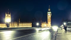 Big Ben on a wet night timelapse Stock Footage