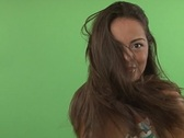 Stock Video Footage of slow motion hispanic woman with long hair on green screen