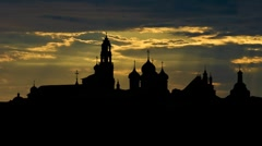 The Trinity Lavra of St.Sergius monastery and the sunset Stock Footage