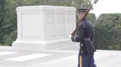 Stock Footage - Honor Guard Walking Past Tomb - stock footage