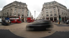 Oxford Circus Intersection London Fisheye Timelapse Stock Footage