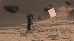 Film camera set in the desert - stock footage