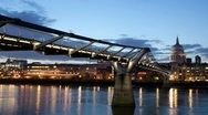 Stock Video Footage of Millennium Bridge and St.Paul's Cathedral at night timelapse