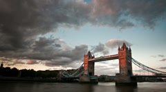 London Tower Bridge at Sunset timelapse Stock Footage