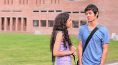 Good looking students flirting Stock Footage