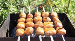 Potato Skewers On Coals Stock Footage