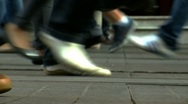 Stock Video Footage of crowd feet-walking in street