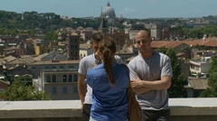 Friends hang out with Rome in the background Stock Footage