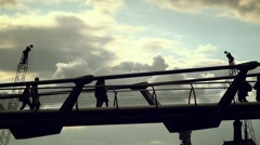 People on the Millenium Bridge - London Stock Footage