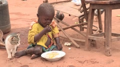 Kenya: Poor Boy Eats Stock Footage