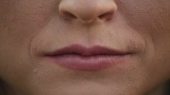 Closeup of Attractive Young Adult Woman Lips That Kiss Stock Footage