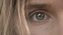 Closeup of Young Adult Woman Eye Stock Footage