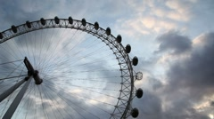 Millenium Wheel against setting sun Stock Footage