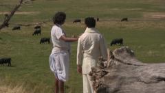 Arabian men standing in a field of cows Stock Footage