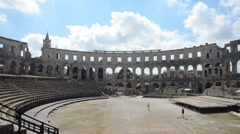 Inside Pula gladiator Arena Stock Footage