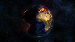 Lighted Earth turning on itself with orange connections with Earth image Stock Footage