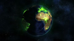 Lighted Earth turning on itself with green connections with Earth image courtesy Stock Footage