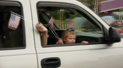 Parade waving flags Stock Footage