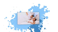 Woman showing a couple waking up Stock Footage