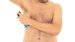 Man applying deodorant, isolated on white HD Stock Footage