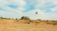Stock Video Footage of American Flag-Pirate Flag at Desert Squatters Camp