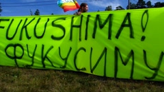 Anti-Nuclear Olkilouto Nuclear Power Plant demonstration Stock Footage