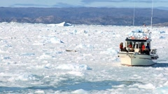Nautical Vessel in a Sea of Frozen Ice - stock footage
