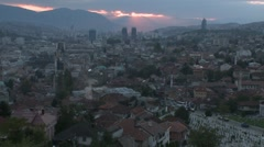 View of Sarajevo 10 at dawn Stock Footage