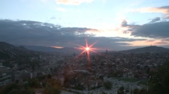 View of Sarajevo 13 at dawn Stock Footage