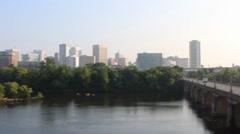 Panning across City of Richmond Skyline to a Bridge 720p Stock Footage