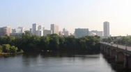 Stock Video Footage of Panning across City of Richmond Skyline to a Bridge 720p