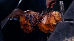 Pig on a spit Stock Footage