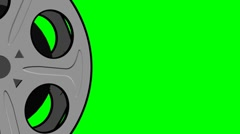 Film Reel Two Element Looping On Green Screen Stock Footage