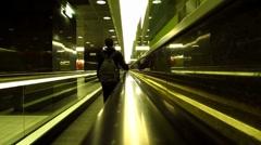 International airport in Rome passenger on escalator Stock Footage