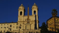 Time Lapse Rome Spanish Steps Trinita dei Monta night dusk Stock Footage
