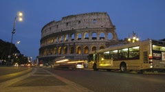 Time Lapse Rome Colosseum Colosseo Coliseum night dusk Stock Footage