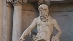 Baroque statue at Trevi Fountain, Rome Stock Footage