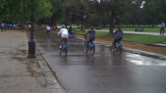 Cyclist In The Rain Stock Footage