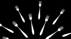 Black and White Forks Looping Animated Element Stock Footage
