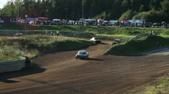 Cars bumping into each other in a folkrace (autocross) Stock Footage